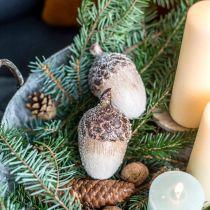 Bellotas decorativas cubiertas de nieve, adornos de cerámica, Adviento, adornos de otoño invierno L9.5 4pcs