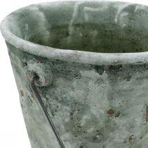 Cubo decorativo, cerámica para plantar, decoración de jardín, cubo de plantas con óptica antigua Ø13,5cm H12cm 2ud