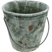 Cubo decorativo, jardinera, cubo de cerámica, aspecto antiguo, Ø19,5cm H19cm