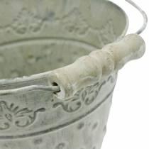 Cubo decorativo, blanco lavado con asa Ø20,5cm, jardinera, decoración de metal