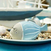 Pez decorativo con gafas azul blanco 15,5 / 14,5cm 2 piezas