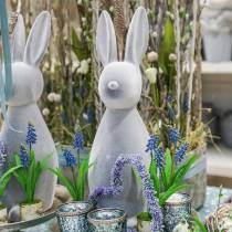 Conejito decorativo gris flocado 47cm Decoración conejito de Pascua Pascua