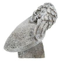 Corazón decorativo con angel gris 10.5cm 2pcs