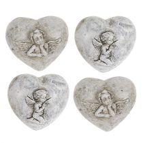 Mini corazones decorativos con ángeles 4cm gris 8pcs