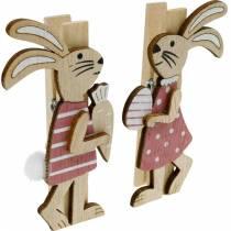 Clips decorativos conejitos conejitos de Pascua rosa, blanco madera decoración de Pascua 4 piezas