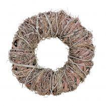 Corona decorativa naturaleza Ø33cm blanco lavado