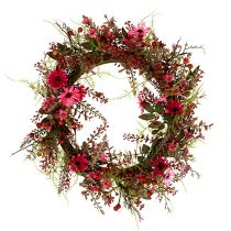 Corona decorativa con bayas Ø25cm rosa