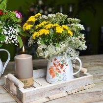 Jarra decorativa con rosas silvestres, jarra esmaltada, jarrón de metal estilo vintage Al12.5cm