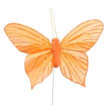 Mariposa decorativa naranja 12 piezas
