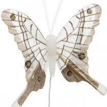 Mariposas decorativas blancas, mariposas de plumas marrones sobre alambre 7.5cm 6pcs