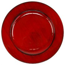 Plato decorativo plástico Ø28cm rojo-negro