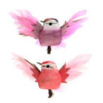 Deco pájaros en el clip rosa / morado 9cm 8pcs