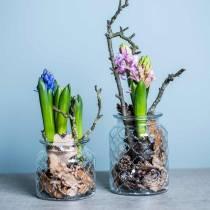 Patrón de diamante de linterna decorativa, recipiente de vidrio, florero de vidrio, decoración de velas 2 piezas