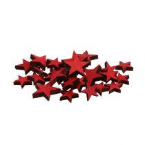 Estrellas de madera esparcidas rojas 3-5cm 72pcs