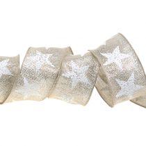 Cinta navideña con patrón de estrella natural, plata 40mm 15m