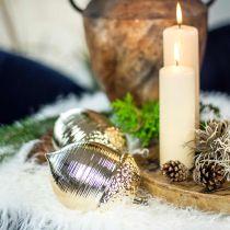Decoración de mesa dorada de cerámica de bellota decorativa Navidad 13,5 cm 2 piezas