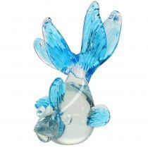 Pez decorativo cristal transparente, azul 15cm