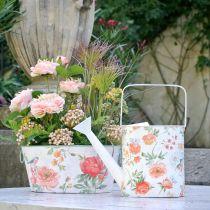 Regadera decorativa metal vintage rosas decoración de verano jardín H31.5cm