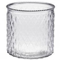 Vidrio decorativo, farol con patrón de rombos, recipiente de vidrio Ø15cm H15cm