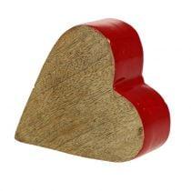 Deco corazón madera rojo, naturaleza 11cm x 9.5cm