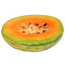 Melón dulce decorativo cortado a la mitad naranja, verde 13cm