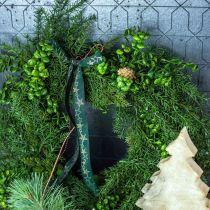 Guirnalda decorativa grandes ramas de coníferas, conos y boj verde 70cm