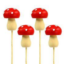 Deco Mushroom Fly Agaric Plug Rojo 3,5cm L30cm 12pcs