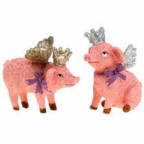Figura para decorar cerdo con corona 9cm 2pcs