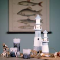 Faro de madera azul-blanco 36cm