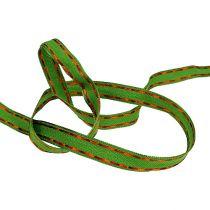 Cinta de regalo para la decoración verde con borde de alambre 15mm 15m