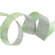 Cinta de regalo para la decoración verde claro con mica 10mm 150m