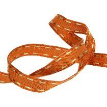 Cinta de regalo para la decoración naranja con borde de alambre 15mm 15m