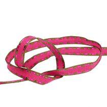 Cinta de regalo para la decoración Pink con borde de alambre 15mm 15m