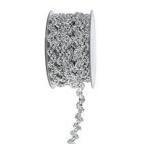 Cinta de regalo para la decoración plata brillante 10mm 9m