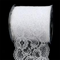 Cinta de regalo para la decoración encaje 100mm 10m blanco