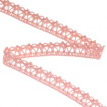 Cinta de regalo para la decoración Crochet Lace Pink 12mm 20m