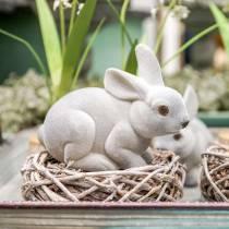 Figura decorativa conejito gris, decoración primaveral, conejito de pascua sentado flocado 3 piezas