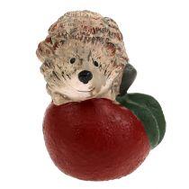 Figura para decorar erizo sobre manzana 7,5cm de cerámica