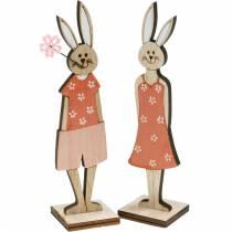 Figura decorativa Conejito de Pascua naranja, conejito de madera blanco Decoración de Pascua 6ud