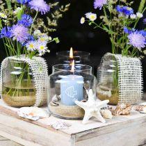 Vidrio decorativo, florero, farol de vidrio, decoración de mesa Ø10cm H10cm 6ud