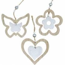 Decoración percha corazón flor mariposa naturaleza, decoración de madera plateada 6 piezas