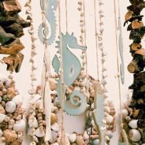 Percha decorativa caballito de mar verde 27cm 2pcs