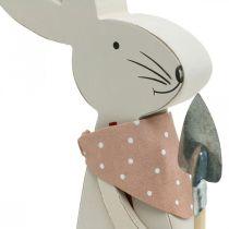 Conejito decorativo con pala, conejito, decoración de Pascua, conejito de madera, conejito de Pascua