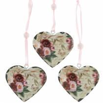Corazón decorativo peonías corazón de metal nostálgico para colgar 6 piezas