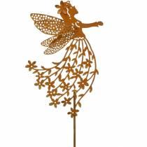 Enchufe decorativo flor elfo, resorte, decoración de metal, hada en un palo, pátina