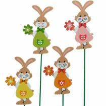 Enchufe decorativo Conejito de Pascua con flor Decoración de Pascua conejitos de madera en palo 24pcs