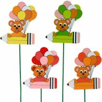 Pluma decorativa con osito de peluche y globos tapón de flores decoración de verano niños 16pcs
