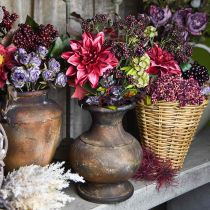 Ramo decorativo artificial con dalia y bayas lila 45cm