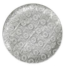 Placa decorativa plateada con adorno Ø32cm