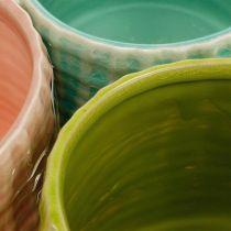 Macetas decorativas con dibujo de cesta, jardinera, jardinera de cerámica menta / verde / rosa Ø13cm 3ud
